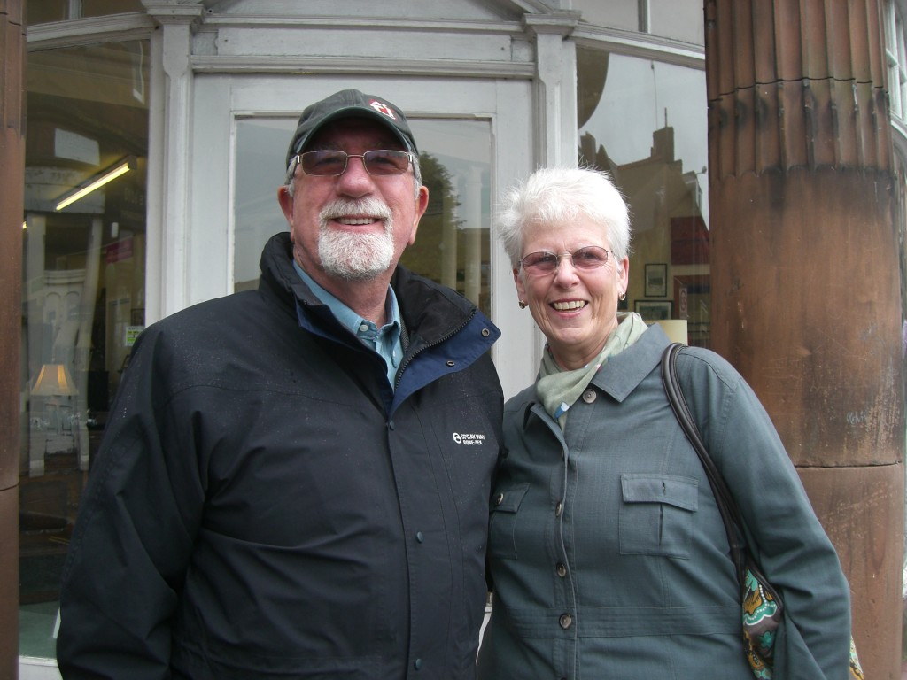 RW Bro Bill McLeod and his wife Ann outside the Masonic Lodge building in Dumfries, Dumfriesshire, SW Scotland.